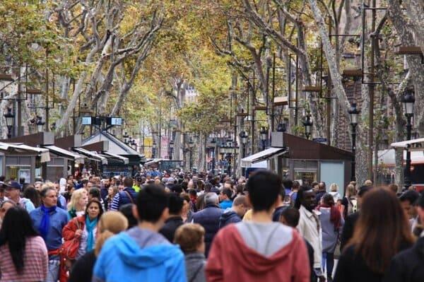 Rambla foule Barcelone