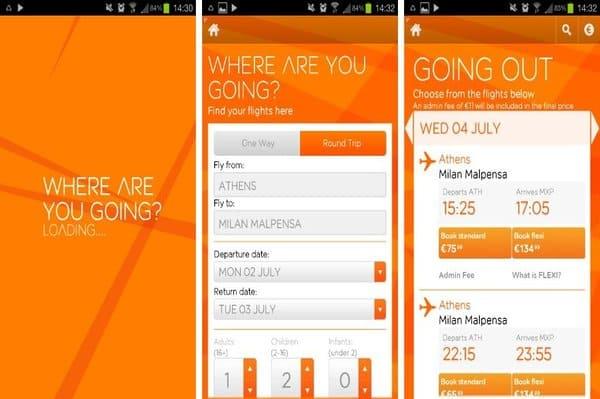 Easyjet application smartphone