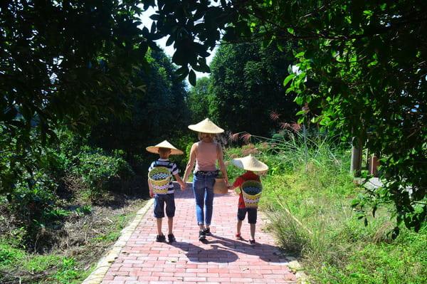 Famille en visite en Chine