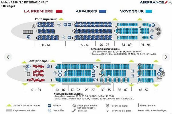 détails des sièges de l'A380