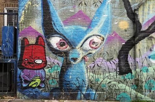 chiens bleus sur mur Camden Street