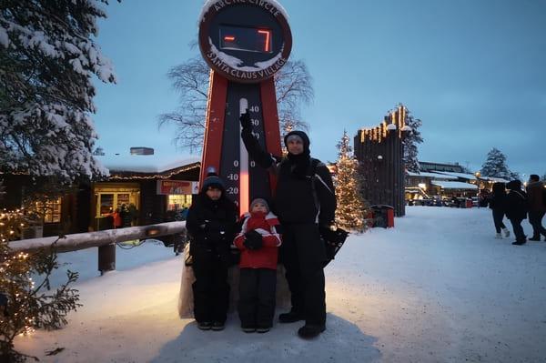 Thermomètre village père noël à Rovaniemi