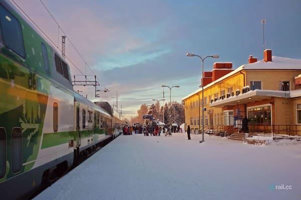 Arriver en train à Rovaniemi