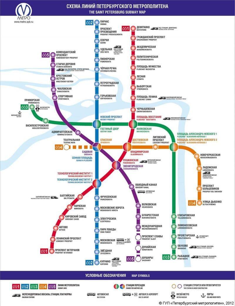 Plan du métro Saint Pétersbourg