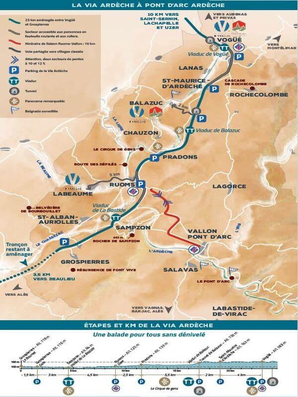 parcours vélo en Ardèche plan